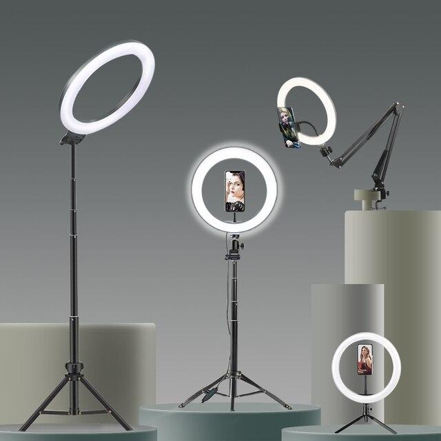 Selfie Ring Light Photography light led rim of lamp with mobile Holder large tripod stand for tik tok Youtube  RGB Led lights