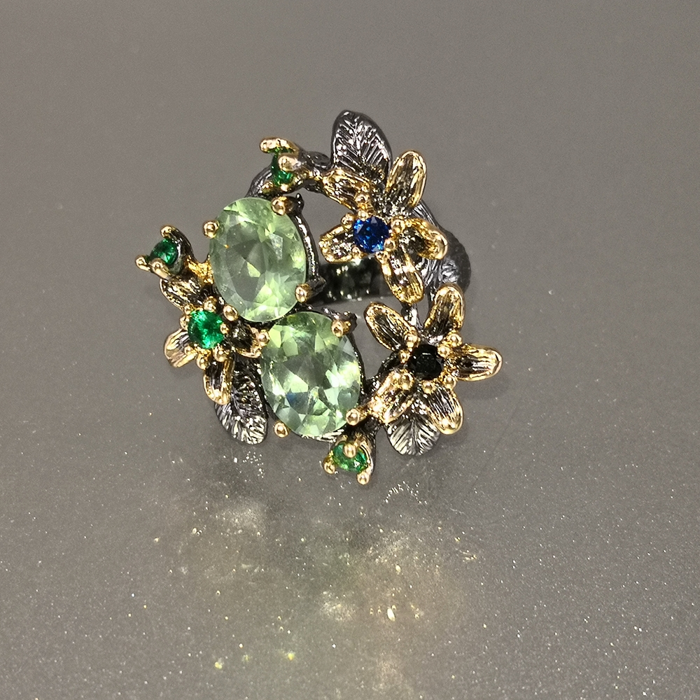 DreamCarnival 1989 Stunning CZ Rings for Women Engagement Party Vintage Flower Ring Eye Catching Olivine Zircon Jewelry WA11688 3