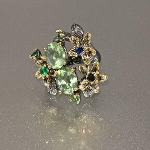 Image 3 - Dreamcarnival Hot Selling Prachtige Cz Ring Voor Vrouwen Engagement Party Vintage Bloem Opvallende Olivijn Zirkoon Sieraden WA11688