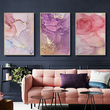 Nordic Colorful Golden scandinavo Poster Modern Abstract Canvas Painting Wall Art Print Pictures for Living Room home decor(China)