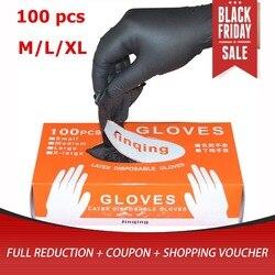 Leshp 100 ピース/ロットメカニック手袋ニトリル手袋家庭用洗浄洗濯黒実験室ネイルアート帯電防止手袋
