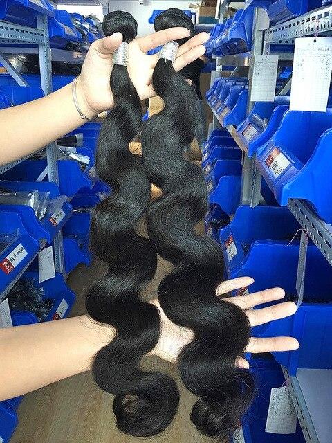 Luvin 28 30 32 34 40 pulgadas 1 3 4 brasileño extensiones de pelo ondulado de la onda del cuerpo del pelo humano de Remy doble Natural dibujado
