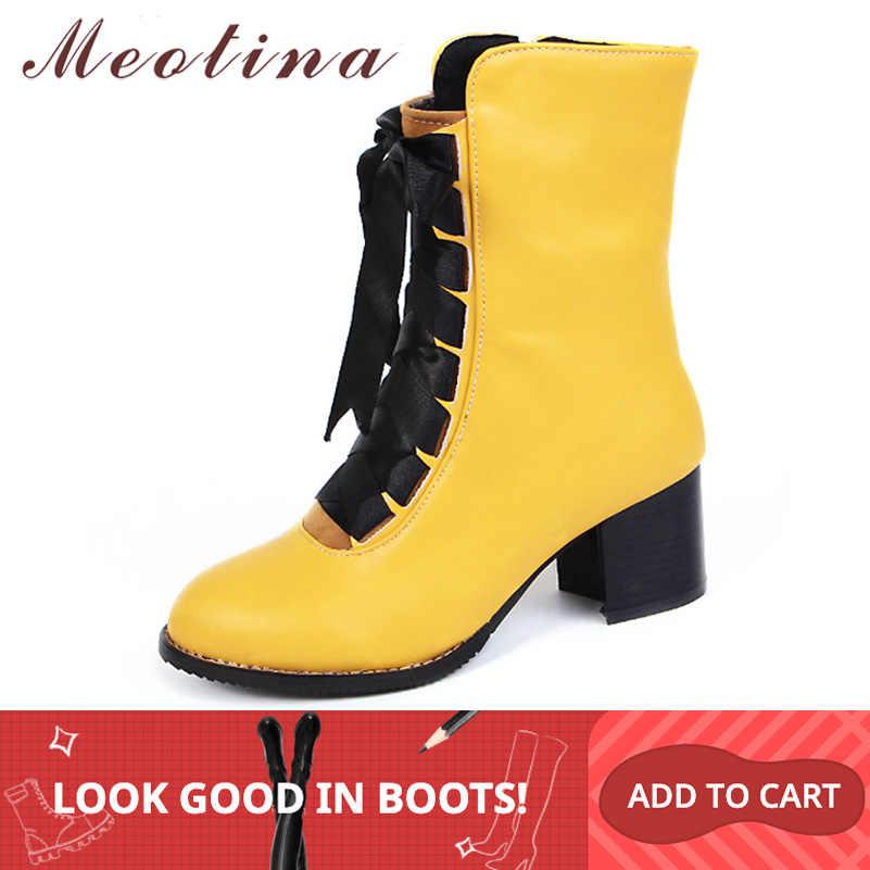 Meotina kadın botları kış 2018 blok topuk bayanlar motosiklet botları Lace up orta buzağı çizmeler kırmızı bayanlar ayakkabı büyük boy 45 46 sarı
