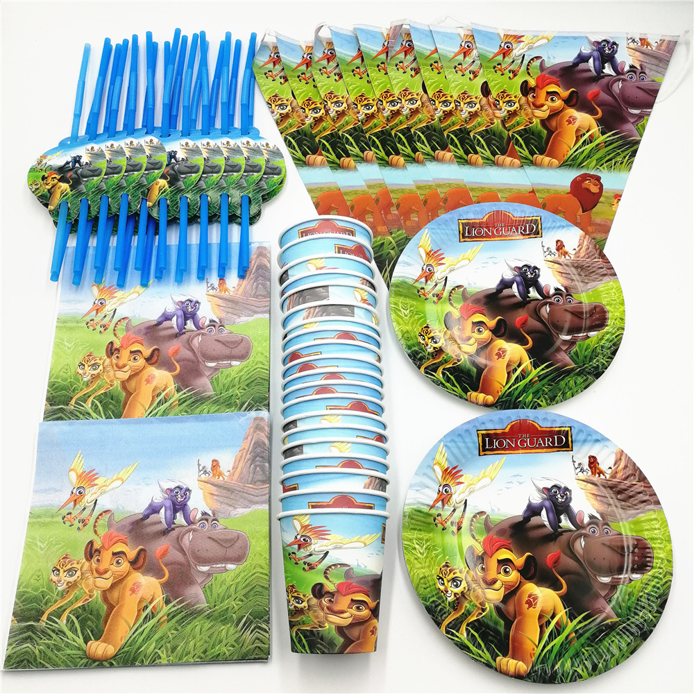 81 sztuk 20 osób król lew straży jednorazowe zastawy stołowe dla dzieci dekoracje na przyjęcie urodzinowe zestaw Banner słomy serwetka puchar płyta zaopatrzenie firm