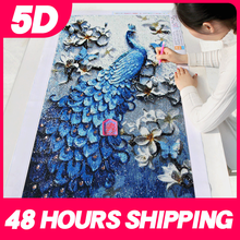 Meian 5D Special Shaped Diamond Painting Kit Peacock Animal Mosaic Dotz Embroidery Art Full Drill Round Rhinestone Picture Set