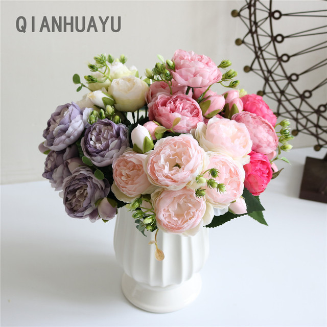 1pcs 30cm Rose Pink Silk Peony Artificial Flowers Bouquet For Valentines Day Gifts DIY Home Wedding Party Decoration Fake Flower 1