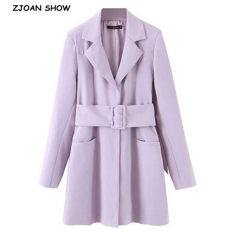 2019 New Autumn Winter Chic Lavender Sashes Blazer With Belt Vintage Women Long Sleeve Mid Long Suit Office Lady Coat Outwear