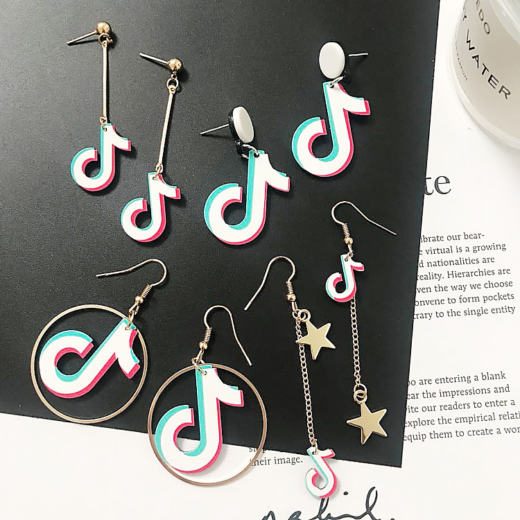 New Fashion Acrylic Music Note Drop Earrings Star Long Chain Round Dangle Brincos For Women Girl Party Asymmetrical Personality