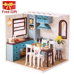 Nueva muñeca de madera 3D casa Villa muebles DIY modelo miniatura LED luz 3D casa de muñecas de madera regalos de navidad juguetes para niños