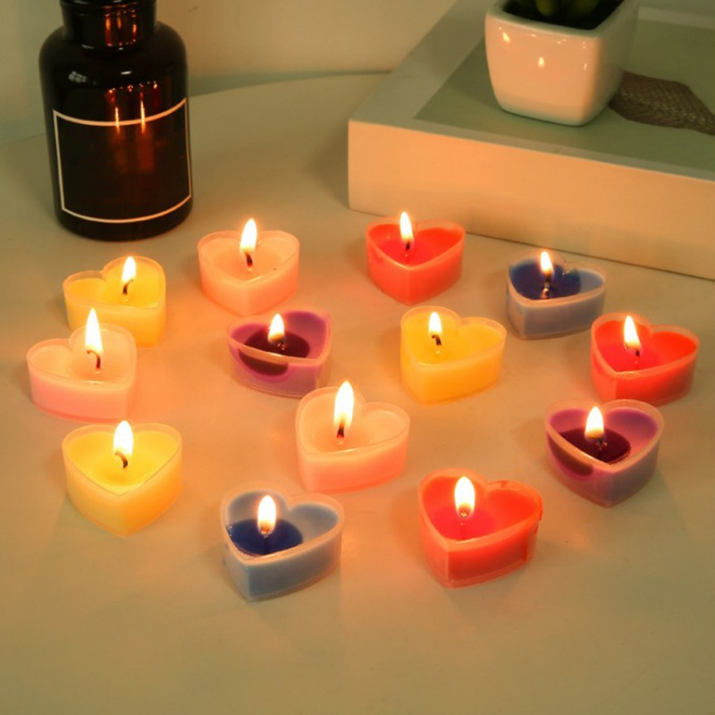 Valentine\'s Day Unscented Tealight Heart Candles Bulk Paraffin Pressed Wax For Home Decor Table Centerpieces Birthdays Parties