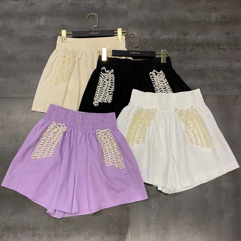 2020 Summer New Pearl Beaded Design Elastic Waist Wide Leg Shorts Women Cotton and Linen Shorts Fashion Casual Shorts Girls Lady