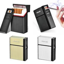 USB Charging Cigarette Case Lighter Dual-use Removable 20 Stick Portable Hard Pack Box