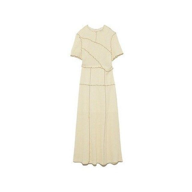 Kuzuwata Chic Wooden Ear Patchwork Pleated Women Dress 2021 Spring Summer Drawstring Vestidos New High Waist Plaid Dresses 3