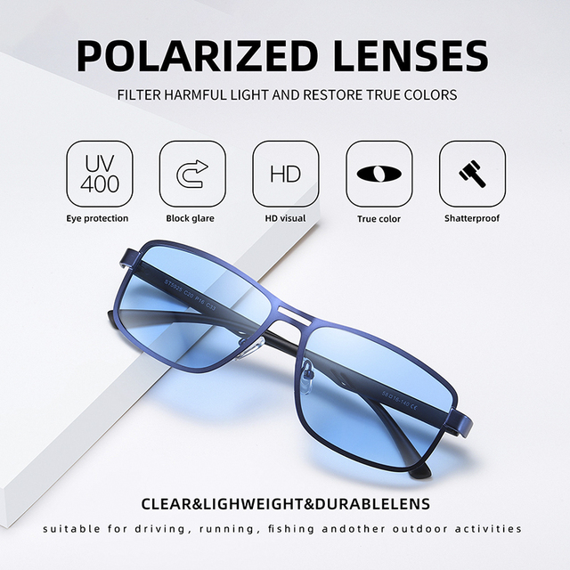 AOFLY Brand 2020 Fashion Sunglasses Men Polarized Square Metal Frame Male Sun Glasses Driving Fishing Eyewear zonnebril heren 2