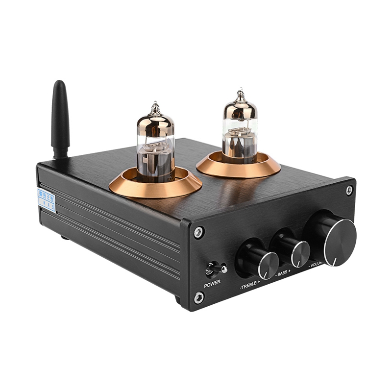 Buffer HiFi 6J5 <font><b>Bluetooth</b></font> 4.2 <font><b>Tube</b></font> Preamp Amplifier Stereo <font><b>Preamplifier</b></font> with Treble Bass Tone Ajustment image