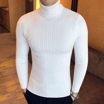 Sweter męski z golfem sweter męski z bawełny sweter zimowy golf sweter męski biały męski sweter Pull Homme tanie i dobre opinie Uyuk CN (pochodzenie) Stałe COTTON Poliester Swetry NONE Na co dzień Pełna REGULAR Mieszkanie dzianiny Grube Brak Standardowy wełny