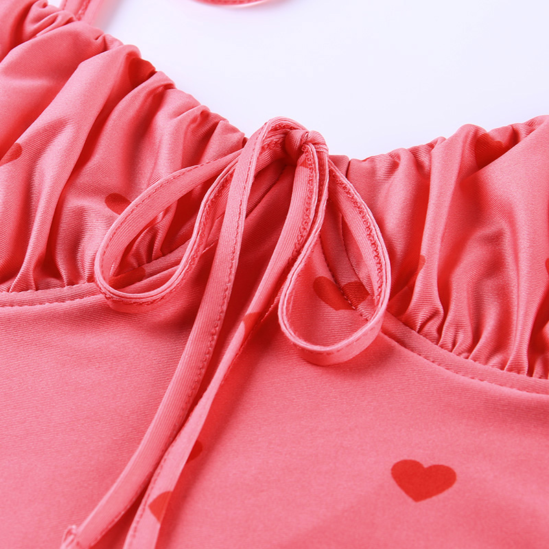 InstaHot Pink Heart Print Spaghetti Strap Dress Backless Ruched Fit and Flare Mini Dress Summer Sweet Casual Holiday Sexy Dress 5