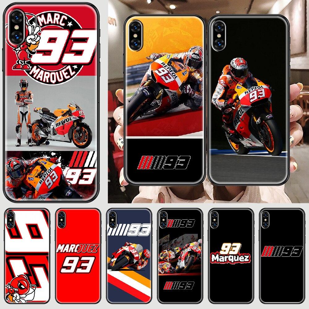 Marc marquez moto gp 93 capa de telefone casco para o iphone 5 5S se 2 6s 7 8 12 mini plus x xs xr 11 pro max preto luxo