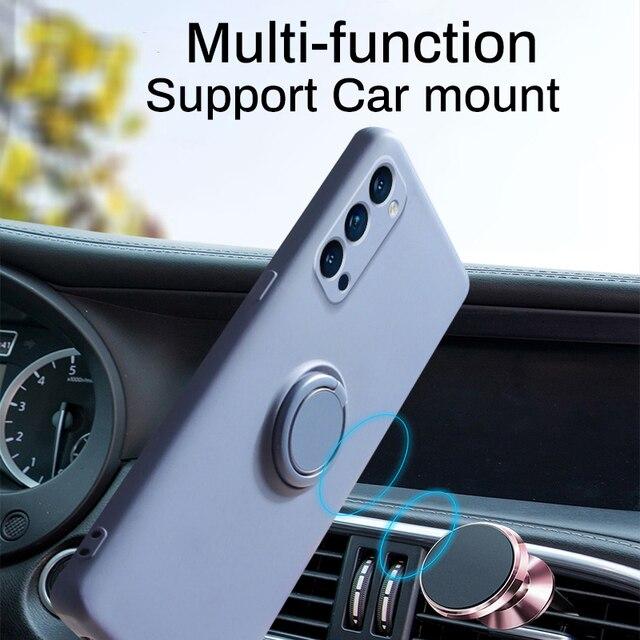 LOVECOM Original Soft Liquid Silicone Case For Xiaomi Redmi Note 10 9 9S Pro Ring Holder Strap Cover For Mi Poco X3 10T Lite 2