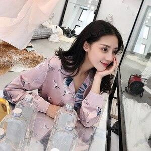 Image 4 - Women Spring Crane Printing Pajamas Long Sleeve Satin Sexy Pijama Mujer Imitation Silk Pyjamas Pink Casual Home Clothing 3 Set