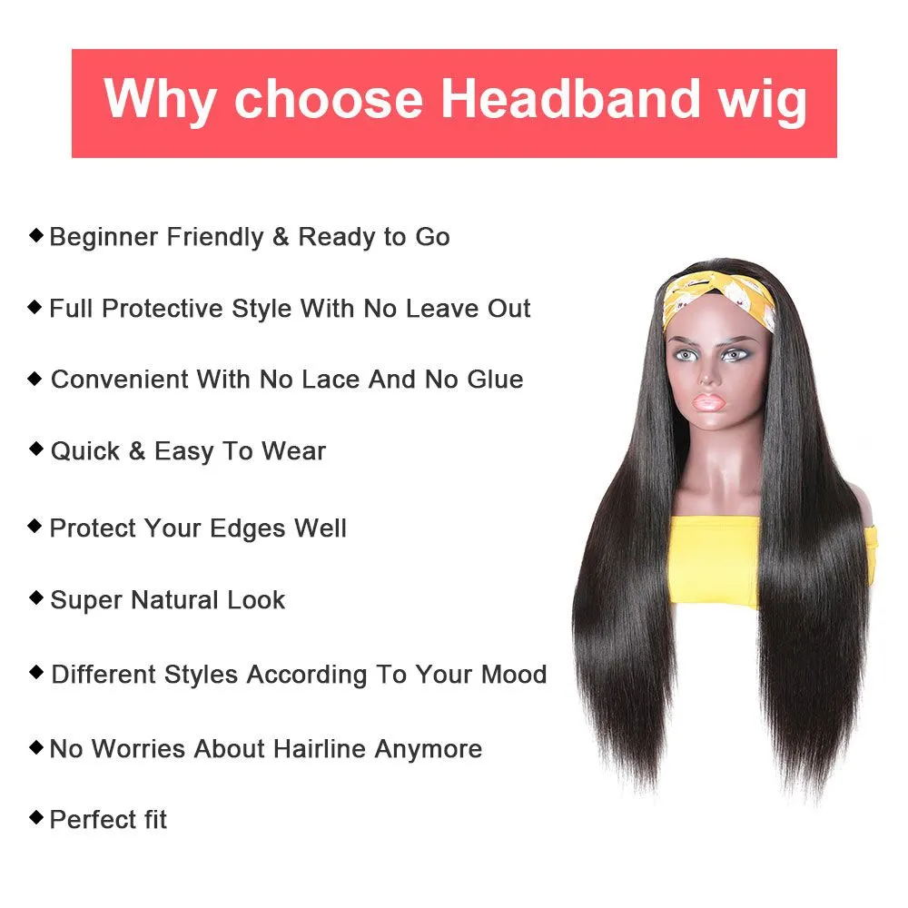 Headbands Wig   Kinky Straight  Glueless Natural Wig With Head Band Full Machine Made Wig 150% Density 2