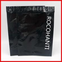100x Custom Logo Print Glossy Black Color Plastic Envelopes Mailing Bags Self Adhesive Courier Bag for Shop Online Gift Pack Bag