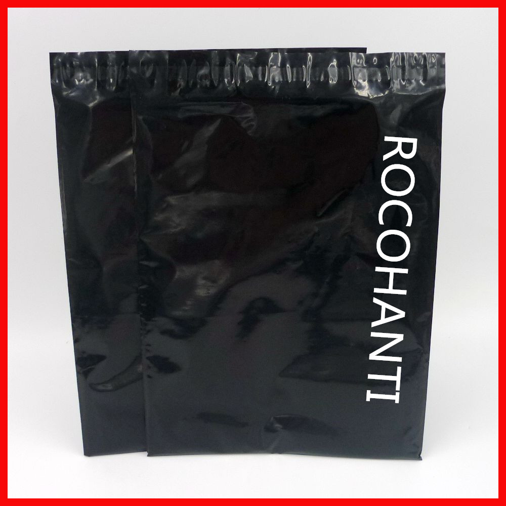 100x Custom Logo Printed Glossy Black Color Plastic Envelopes Mailing Bags PE Self Adhesive Courier Bag For Shopping & Shipping