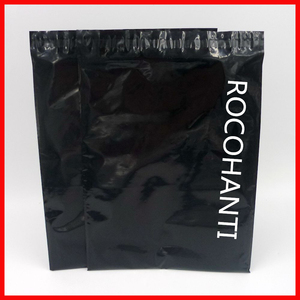 Image 1 - 100x Custom Logo Printed Glossy Black Color Plastic Envelopes Mailing Bags Self Adhesive Courier Bag for Postage Shop Online