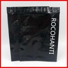 100x niestandardowe Logo drukowane czarny błyszczący kolor plastikowe koperty torebki wysyłkowe samoprzylepna torba kurierska do sklepu pocztowego Online
