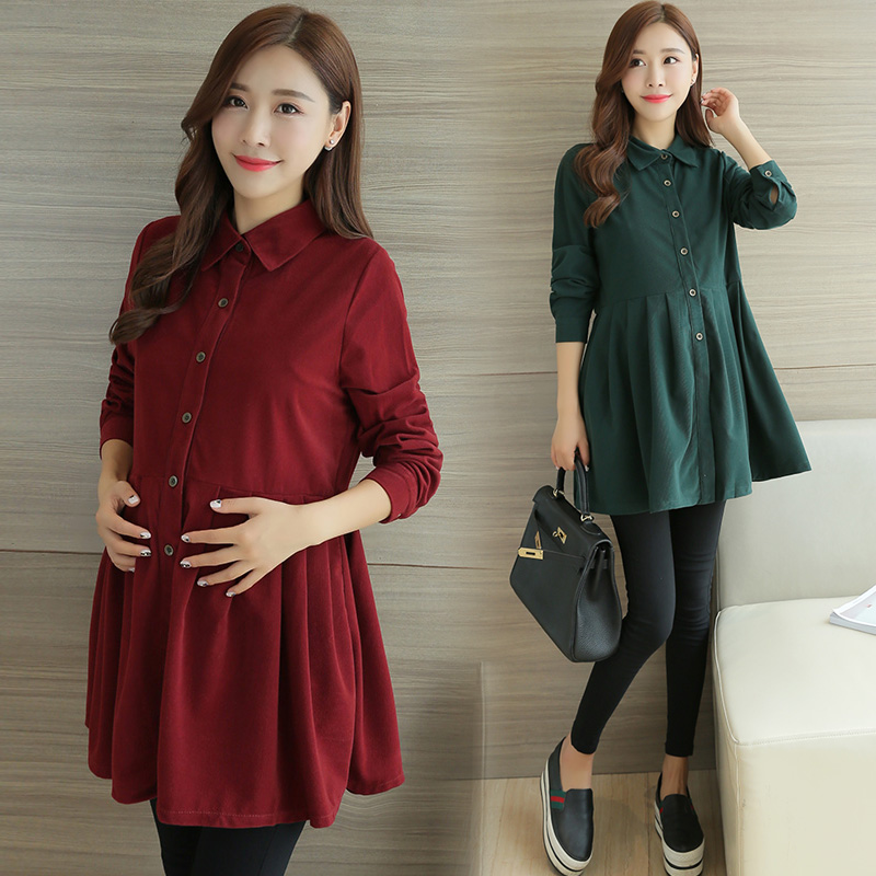 Corduroy Maternity Dresses Long Sleeve Pregnant Dress Autumn Winter Clothes For Pregnant Women Single-breasted Pregnancy Dress