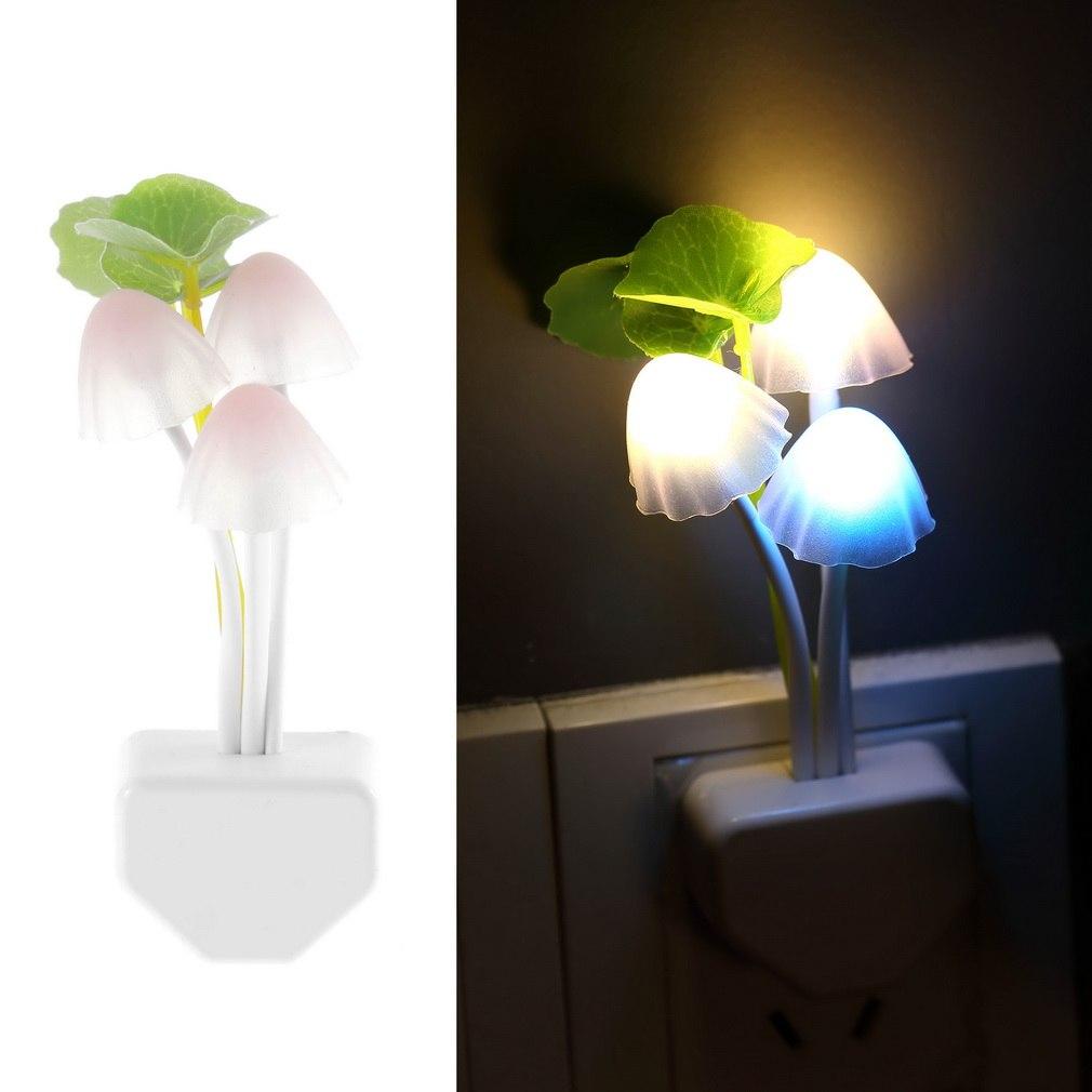 1pc US Plug Electric Induction Dream Mushroom Fungus Lamp 3 LEDs Nightlight Bulb Home Decor LED Breathing Night Lights Cogumelo