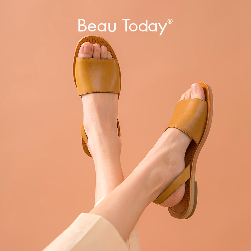BeauToday Gladiator Sandals Women Genuine Cow Leather Slingback Strap Ladies Summer Beach Flat Heel Shoes Handmade A32032
