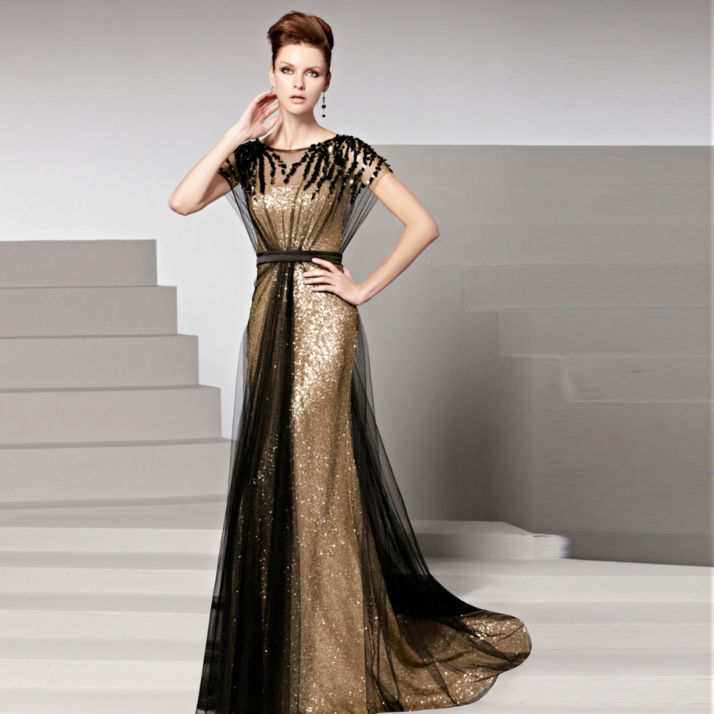 Ready To Ship In Stock Robe De Soiree Gold Sequins Cap Sleeve Prom Evening Gown Women Long 2018 Mother Of The Bride Dresses