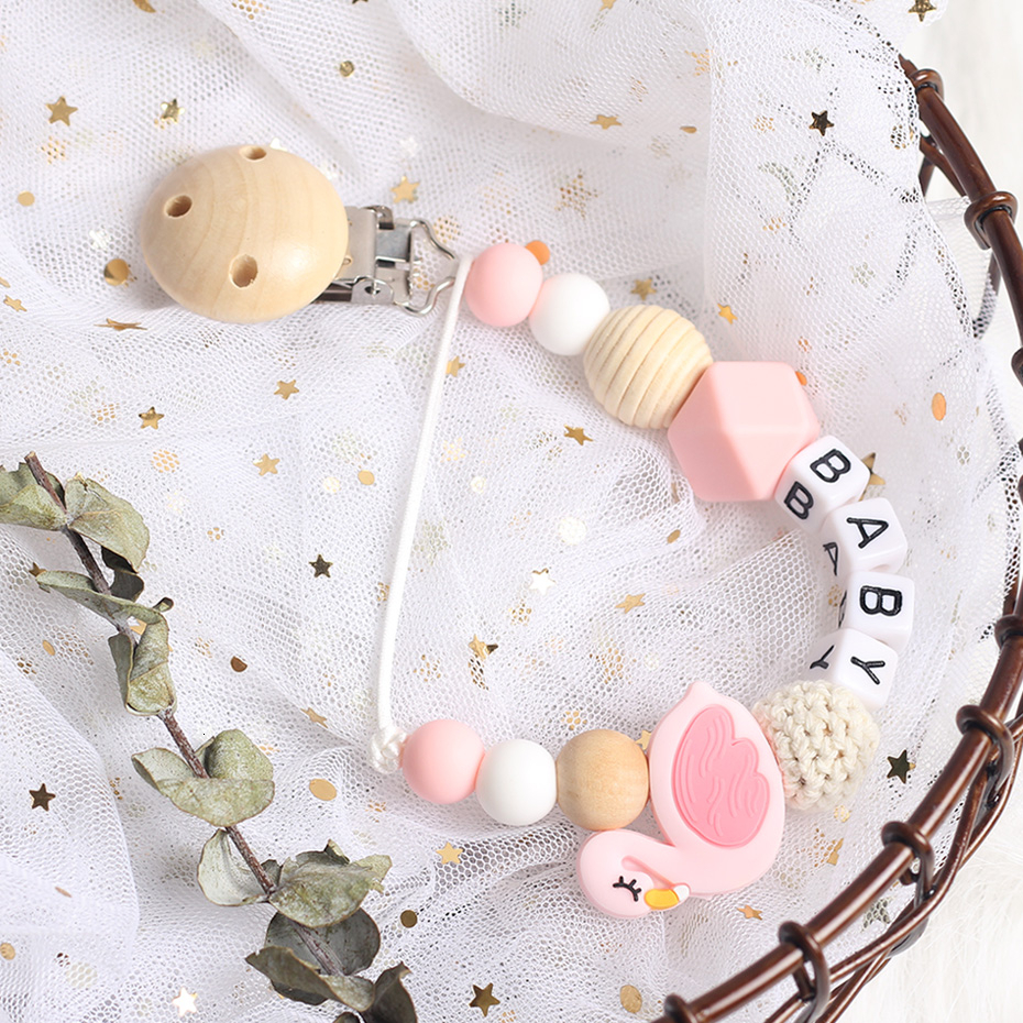 Swan Pacifier Chain Individual Name Pacifier Clips DIY Hook Bead Non-toxic And Environmental  Pacifier holder Dummy Clip