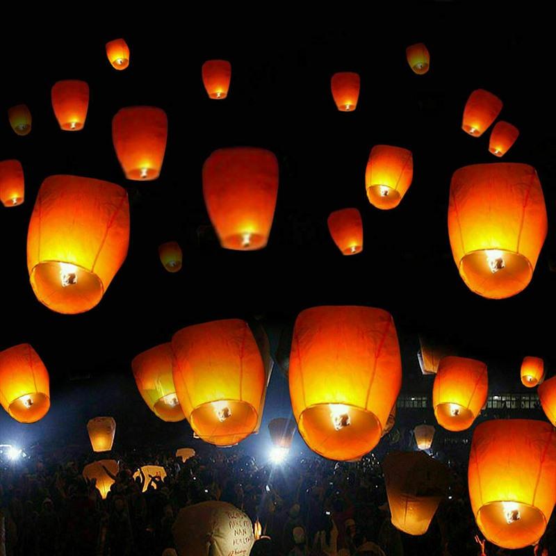 10pcs Paper Lantern Skylight Burning Wax Block Lift Paper Hot Air Balloon Outside Room Decoration Holiday Celebration