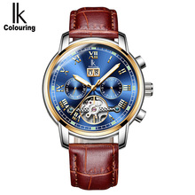 IK Colouring Luxury Men Automatic Watch Skeleton Mechanical Watches Waterproof Calendar Wristwatches