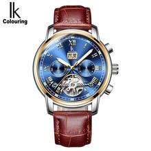 Ik צבעי יוקרה גברים שעון אוטומטי שלד מכאני שעונים עמיד למים לוח שנה שעוני יד