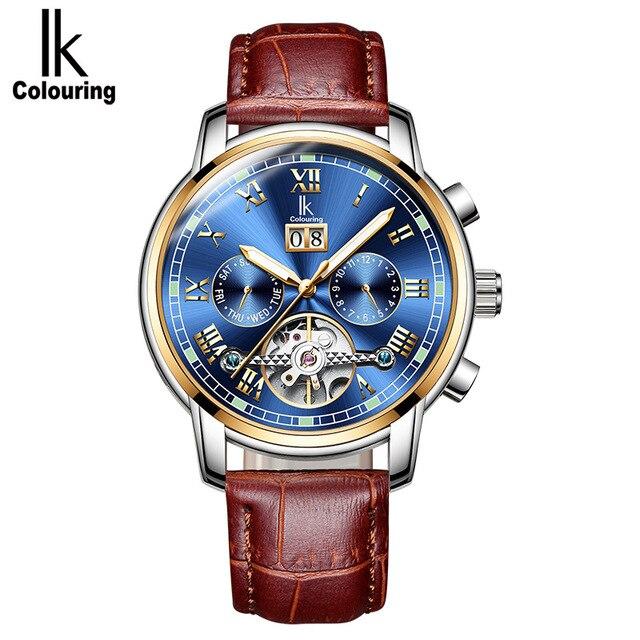 Ik着色高級メンズ腕時計自動スケルトン機械式時計防水カレンダー腕時計