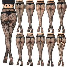 Nova chegada xadrez feminina meia-calça sexy sólido fishnet apertado para as mulheres rendas meias sexy