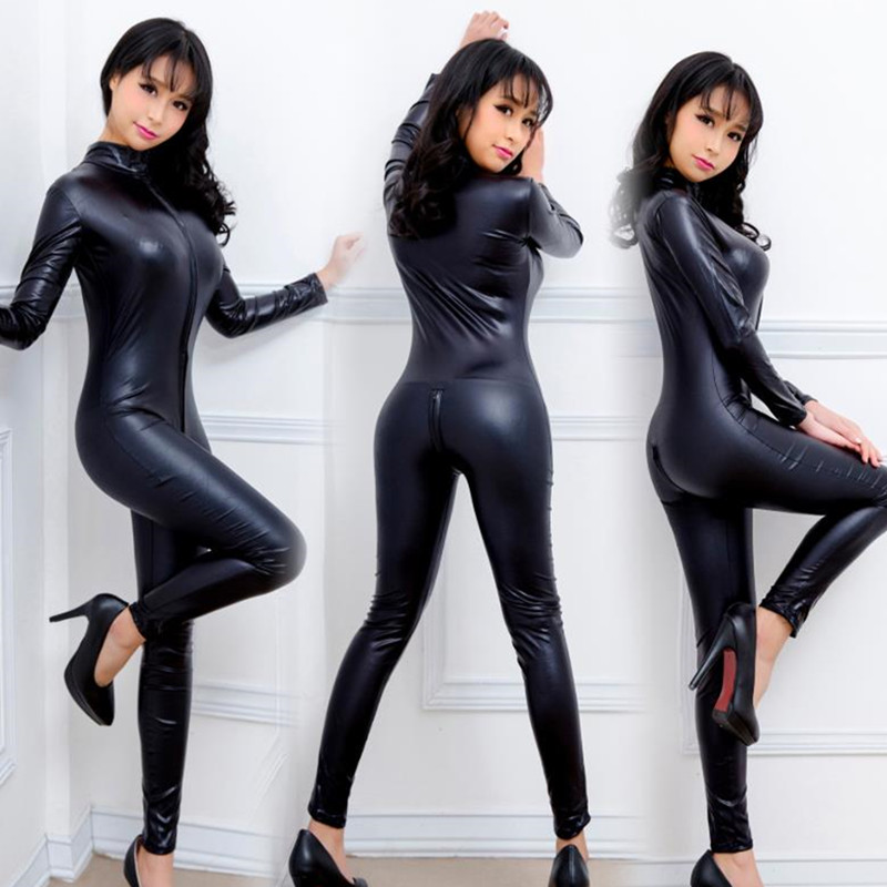 Новинка 2020, сексуальный женский комбинезон из лакированной кожи, виниловый латексный облегающий наряд для бондажа, на молнии, купальник, об...