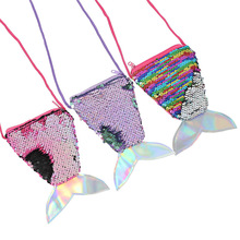 2019 sequins coin purse lanyard coin bag small purse children diagonal pouch fish tail two-color sequins purse