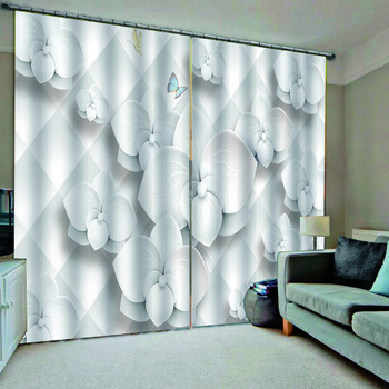 white curtains relief flower curtain 3D Curtain Luxury Blackout Window Curtain Living Room Decoration curtains