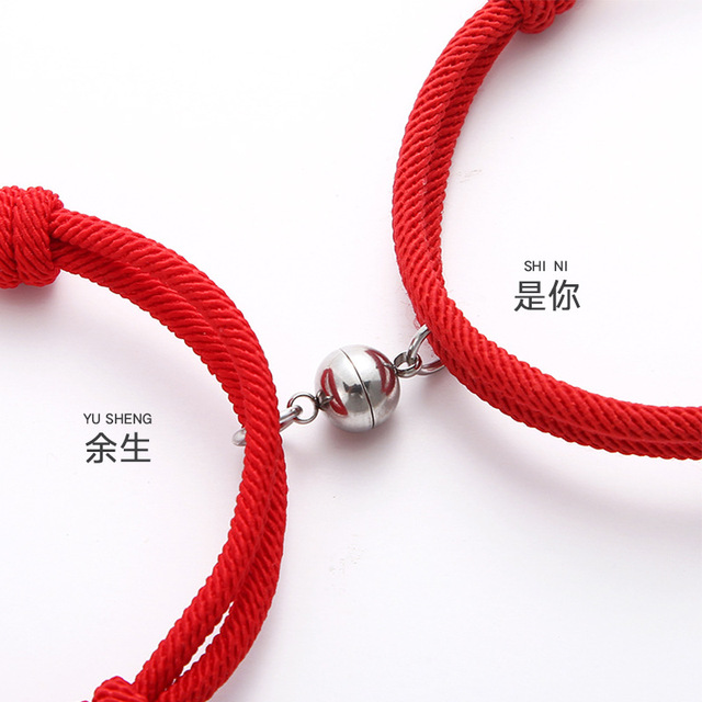 MKENDN Hot Sale 2Pcs/Set 925 Sterling Silver Magnetic Clasp Couple Attraction Rope Men&Women Creative Jewelry Best friend Gift 4