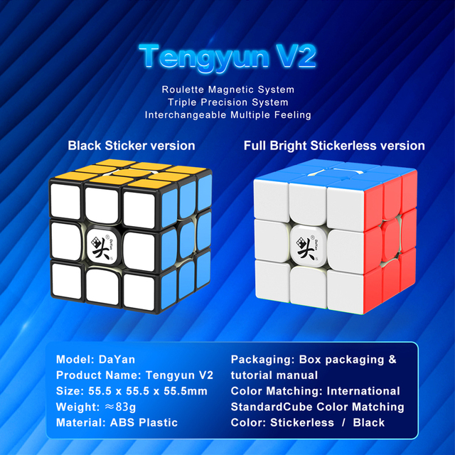 Original Newest Dayan tengyun V2 M Magnetic 3x3x3 Cube Cubo Magico 3x3 with Magnets Educational Toys for kids Gifts Tengyun V2M 6