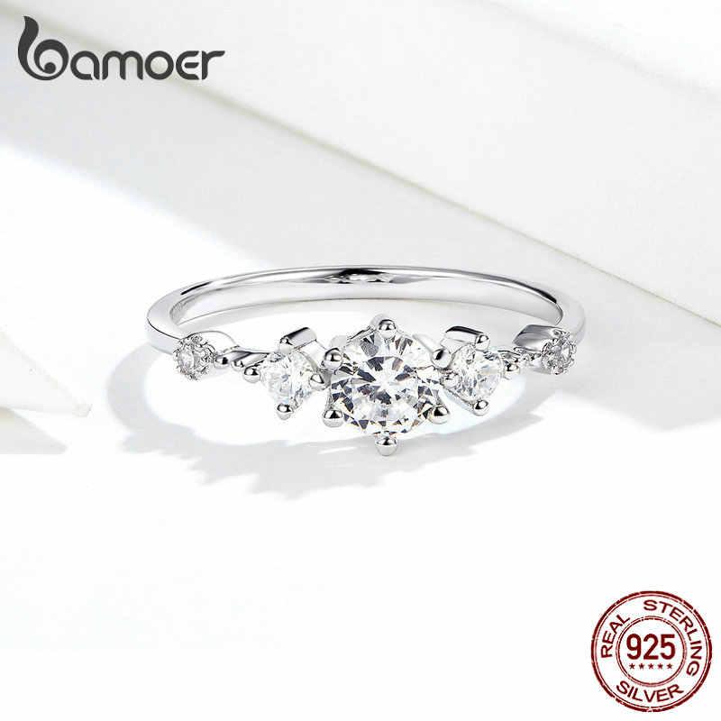 Bamoer 眩しいスパークリング婚約指輪女性のためのシルバー 925 ジュエリー結婚ステートメント女性ビジュー SCR568