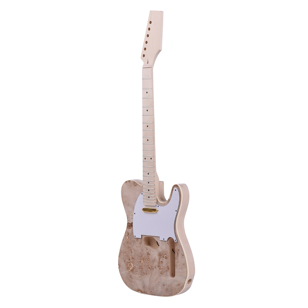 Ammoon TL Tele kit de bricolage de guitare électrique non fini corps de tilleul Surface de ronce touche de cou en bois d'érable avec micro-bobine simple
