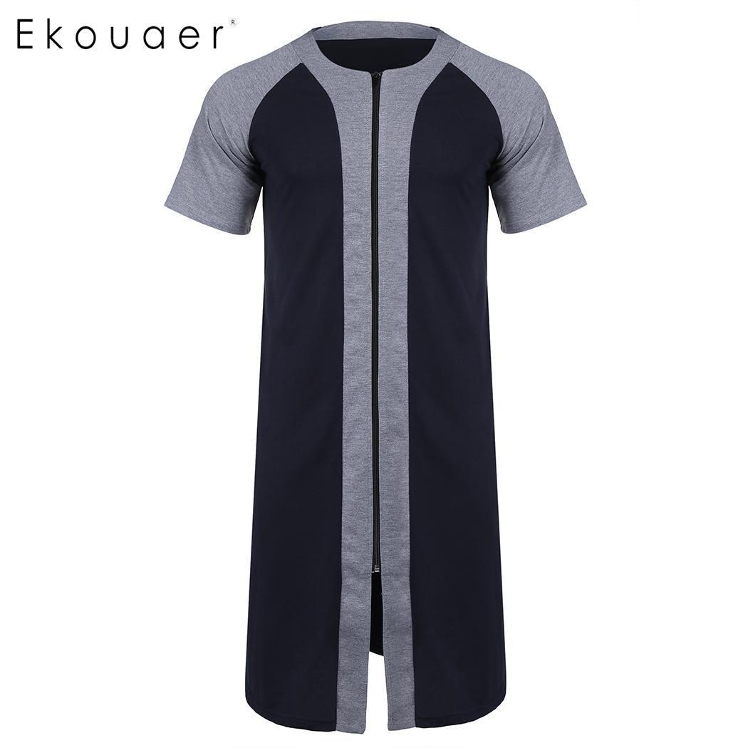 Ekouaer Men Summer Robe Sleepwear Casual Patchwork O Neck Short Sleeve Knee Length Zipper Bathrobe Nightwear