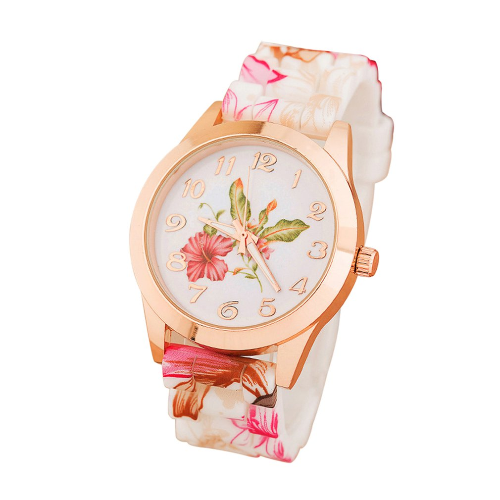 Girl Watch Flower Causal Quartz Watch Silicone Casual Quartz Female Watch Fashion Casual Print Watch