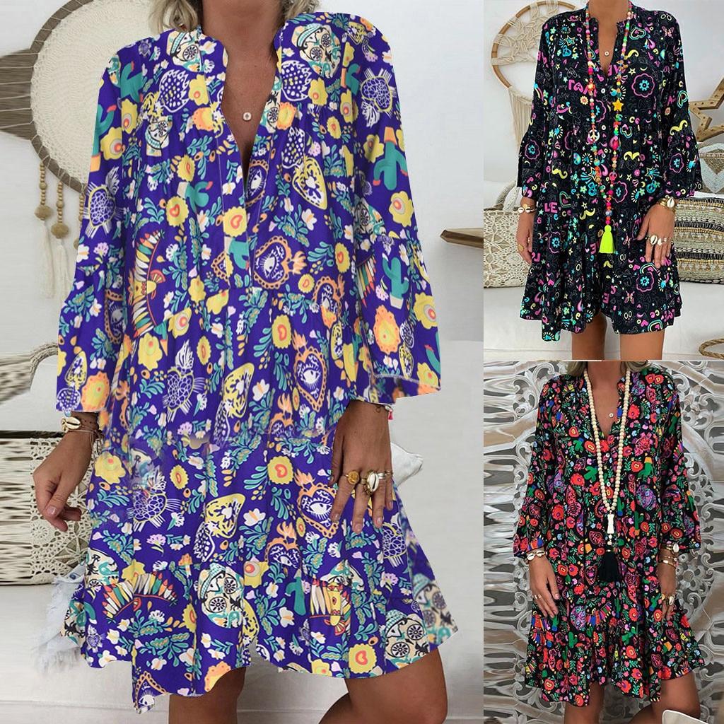Hca54c57cf808422b83859bbe48d24507N Spring Autumn Women Dress Plus Size 5XL Loose Print Long Sleeve V-Collar Button Party Dresses Casual Loose Women Dresses 2019