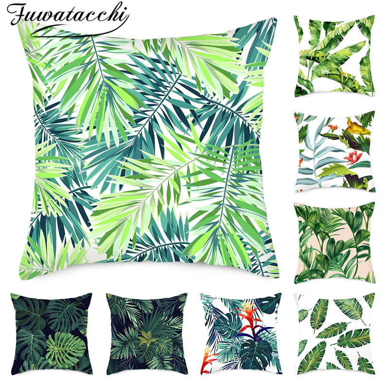 Fuwatacchi Green Plant Pure Linen Cushion Cover Leaf Flower Pillow Cover For Home Chair Sofa Decorative Pillowcases 45x45 Cm